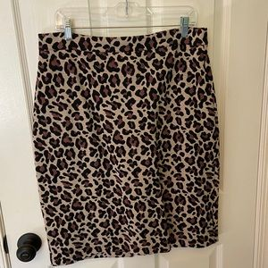Anthropologie Maeve stretchy leopard pencil skirt